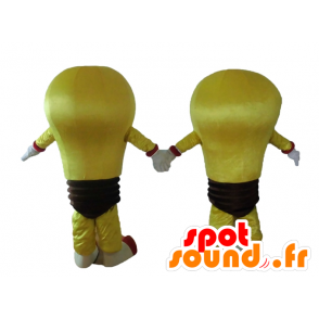 2 mascots of yellow bulbs and brown giant - MASFR028674 - Mascots bulb
