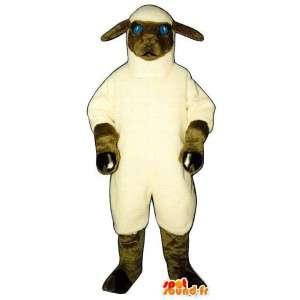 白と茶色の羊のマスコット。羊の衣装