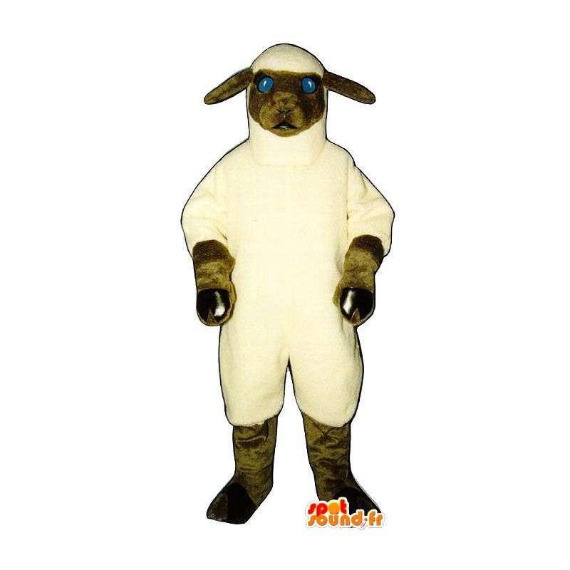 Mascotte de mouton blanc et marron. Costume de mouton - MASFR007272 - Mascottes Mouton