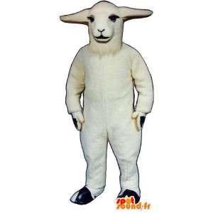 Mascotte de mouton blanc. Costume de brebis