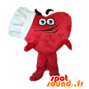 Giant red heart mascot with a toque - MASFR028679 - Valentine mascot