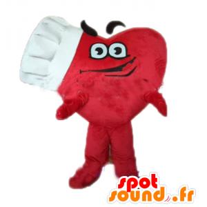Obří červené srdce maskot s kuchařskou čepicí - MASFR028679 - Valentine Maskot