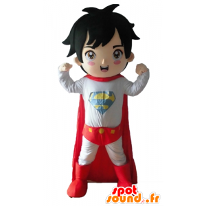 Ragazzo vestito in mascotte supereroe vestito - MASFR028680 - Mascotte del supereroe