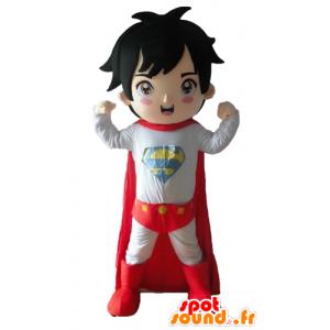 Drengemaskot klædt i superheltøj - Spotsound maskot kostume