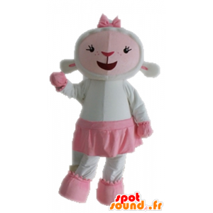 Mascot pink and white sheep. Mascot Lamb