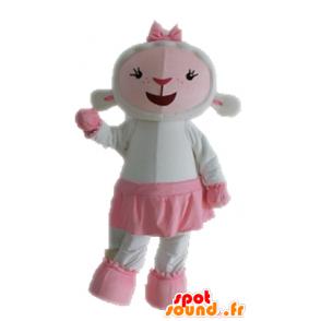 Mascotte de mouton blanc et rose. Mascotte d'agneau - MASFR028687 - Mascottes Mouton