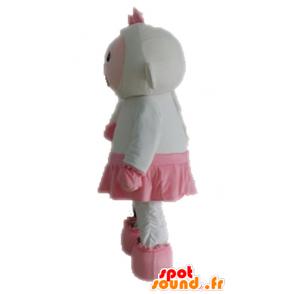 Μασκότ ροζ και λευκά πρόβατα. μασκότ Αρνί - MASFR028687 - Μασκότ Πρόβατα