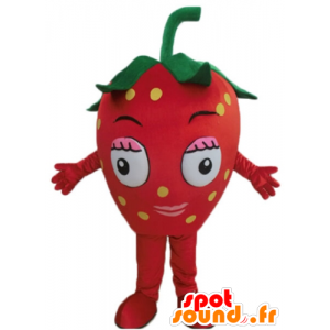 Mascot red strawberry giant. red fruit mascot - MASFR028691 - Fruit mascot