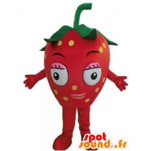 Mascotte de fraise rouge, géante. Mascotte de fruit rouge