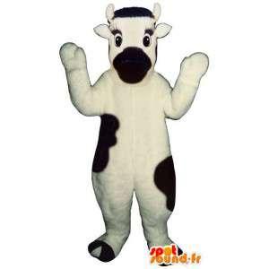 Mascotte de vache noire et blanche