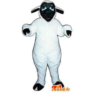 Mascot white and black sheep. Lamb Costume