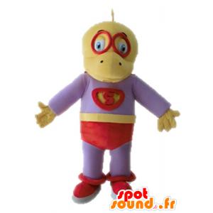 Yellow and purple dinosaur mascot dressed as a superhero - MASFR028700 - Mascots dinosaur