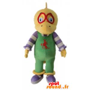 Yellow dinosaur mascot dressed in overalls - MASFR028701 - Mascots dinosaur