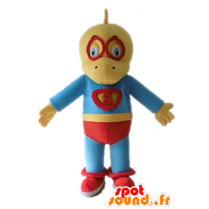 Mascot yellow and blue dinosaur, dressed in superhero - MASFR028702 - Mascots dinosaur