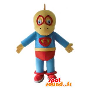Mascot geel en blauw dinosaurus, verkleed als een superheld - MASFR028702 - Dinosaur Mascot
