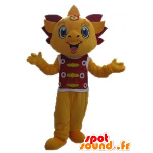 Yellow and red dragon mascot. smiling mascot - MASFR028708 - Dragon mascot