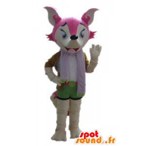 Pink fox mascot and white, feminine and colorful - MASFR028712 - Mascots Fox