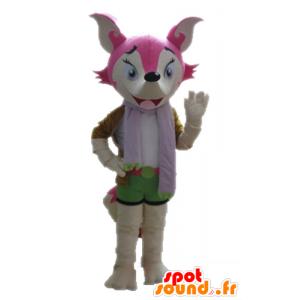 Rosa Fuchs Maskottchen und weiß, weiblich und bunt - MASFR028712 - Maskottchen-Fox