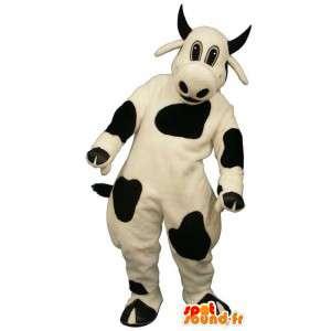Mascotte de vache noir et blanche