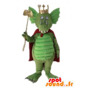 Green dragon mascot with a red cape - MASFR028717 - Dragon mascot
