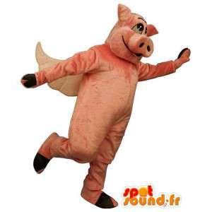Costume rosa maiale, alato