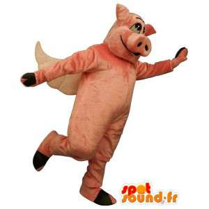 Pink pig costume, winged
