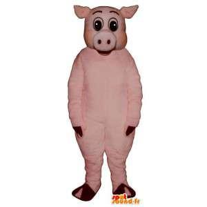 Μασκότ λίγο ροζ χοίρου. ροζ κοστούμι χοίρων