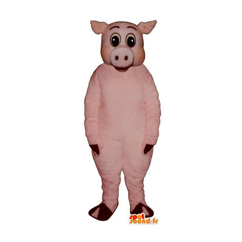 Little pink pig mascot. Pink pig costume - MASFR007286 - Mascots pig