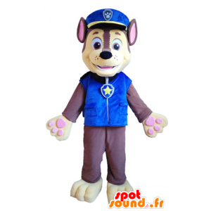 Ruskea ja keltainen koira maskotti poliisin virkapukua - MASFR028725 - koira Maskotteja