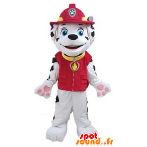 Dalmatische hond mascotte gekleed in uniform brandweerman - MASFR028726 - Dog Mascottes