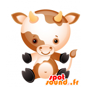 Little cow mascot, brown and white, with horns - MASFR028728 - 2D / 3D mascots