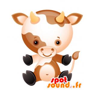 Mascotte de petite vache, marron et blanche, avec des cornes - MASFR028728 - Mascottes 2D/3D