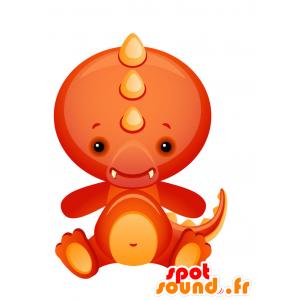κόκκινο μασκότ δράκος και χαριτωμένο και πολύχρωμο πορτοκαλί - MASFR028730 - 2D / 3D Μασκότ