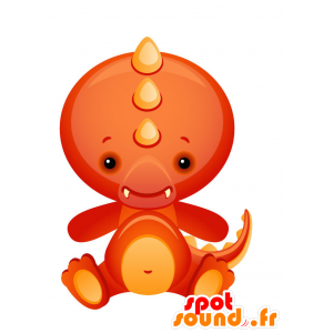 Mascotte de dragon rouge et orange mignon et coloré - MASFR028730 - Mascottes 2D/3D