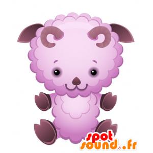 Mascotte de mouton, de bélier violet, très sympathique - MASFR028731 - Mascottes 2D/3D