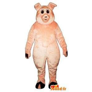 Maskotti vaaleanpunainen sika. puku sianlihaa