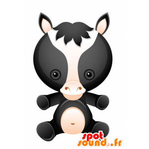 Mascot black horse, white and pink. Colt mascot - MASFR028732 - 2D / 3D mascots
