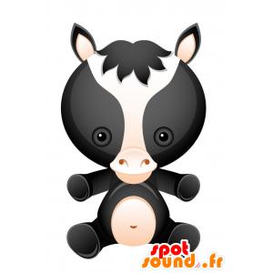 Mascotte de cheval noir, blanc et rose. Mascotte de poulain - MASFR028732 - Mascottes 2D/3D