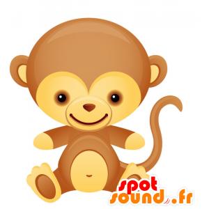 茶色と黄色の猿のマスコット、とても笑顔で楽しい-MASFR028733-2D / 3Dマスコット