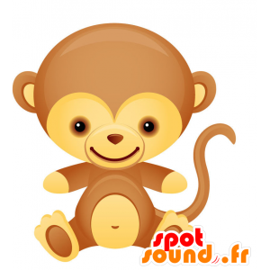 Brown and yellow monkey mascot, cheerful and fun - MASFR028733 - 2D / 3D mascots