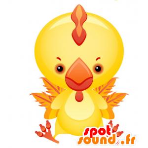 Maskottchen und gelb und beeindruckenden riesigen roten Hahn - MASFR028734 - 2D / 3D Maskottchen