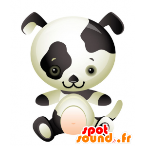 Mascot schwarz gebeizt weißen Hund. Dalmatiner Maskottchen - MASFR028735 - 2D / 3D Maskottchen