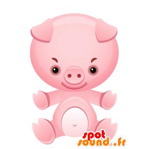 Mascota del cerdo rosado, gigante y sonriente - MASFR028736 - Mascotte 2D / 3D