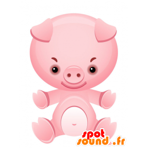 Mascot roze varken, reus en glimlachen - MASFR028736 - 2D / 3D Mascottes