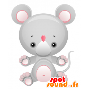 Giant mouse mascot, gray and pink - MASFR028737 - 2D / 3D mascots