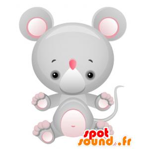 Mascotte de souris géante, grise et rose - MASFR028737 - Mascottes 2D/3D