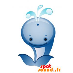 La mascota azul y blanco de ballena, gigante y linda - MASFR028738 - Mascotte 2D / 3D