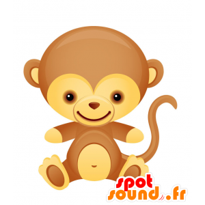 Brown and yellow monkey mascot, friendly and cute - MASFR028739 - 2D / 3D mascots