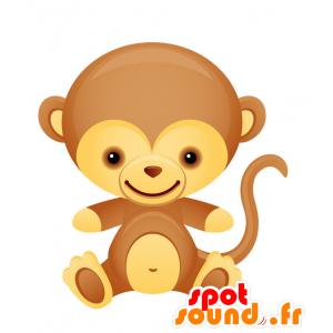Marrón y amarillo de la mascota del mono, amable y linda - MASFR028739 - Mascotte 2D / 3D