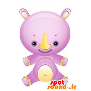 La mascota del rinoceronte púrpura y amarillo, hermoso y colorido - MASFR028740 - Mascotte 2D / 3D